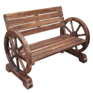 Wooden Garden Bench + Wheel Armrests 1.1m Seat  RUSTIC APPEAL