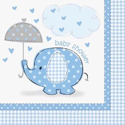 16 x Napkins 33cm 2ply Boys Blue Elephant Baby Shower Party Tableware Supplies ()