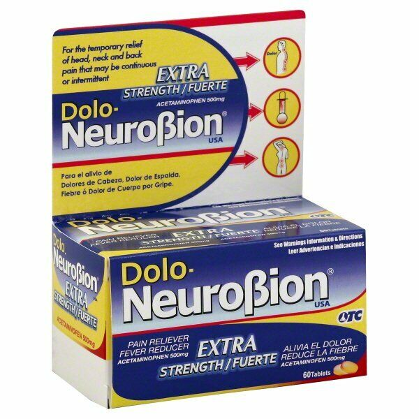 Dolo Neurobion Extra Strength Pain Reliever Fever Reducer 60 tablets Exp 12/2021