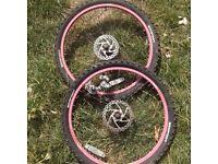 2x 24 bike wheels and brakes