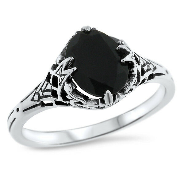 GENUINE BLACK AGATE 925 STERLING VINTAGE ANTIQUE STYLE SILVER RING SIZE 10  #759