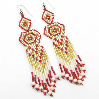 NEW WOMEN RED GOLD GLASS BEADED FASHION NATIVE STYLE INSPIRED HOOK EARRINGS