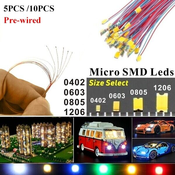 100PCS Pre-Wired LED Diodes Micro Mini DIY Toy Model Lights 0402 0603 0805 1206