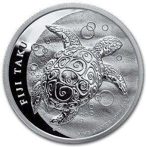 2013  Silver 1 oz. New Zealand Mint $2 Fiji Taku Turtle