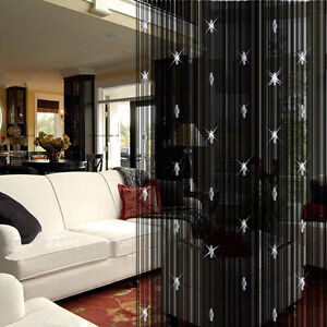 Beauty-Decorative-String-Curtain-With-3-Beads-Door-Window-Panel-Room-Divider-LU7