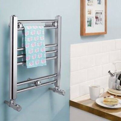 Romano Small Dual Fuel Chrome Heated Towel Radiator Rail Straight Flat Electric