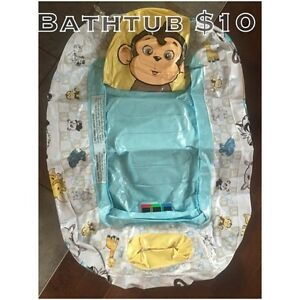 Inflatable infant bath tub w/thermometer