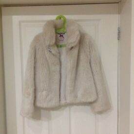 Girls Cream Faux Fur Coat size age 7-8