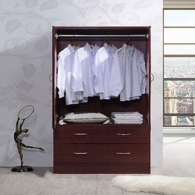 Bedroom Armoire 2-door 2-drawers wardrobe storage closet cabinet wood Home NEW 2 Door Wardrobe Cabinet