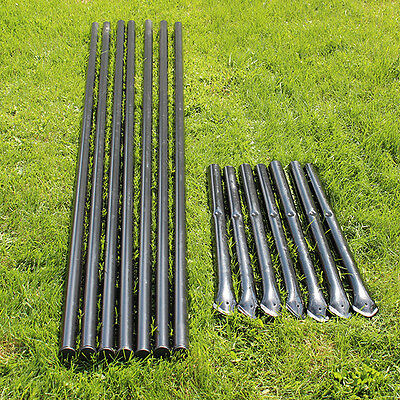 Steel Posts - Galvanized - Black Pvc Coated 7-pack For 8 Deer Fencing