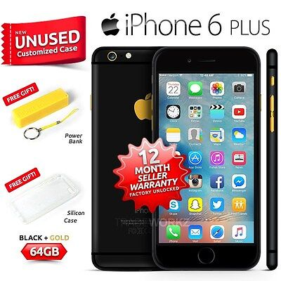 New Sealed Factory Unlocked APPLE iPhone 6 + Plus Black Gold 64GB 4G Smartphone