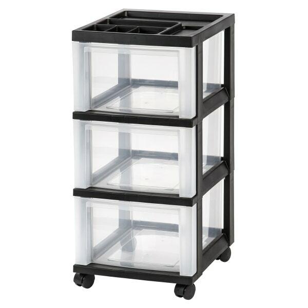 "Office Depot Brand Plastic 3-Drawer Storage Cart, 26 1/5"" x 12 1/10"" x 14 3/10"""