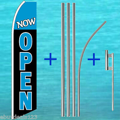 Now Open Flutter Feather Flag 15 Tall Pole Mount Swooper Banner Sign 1203