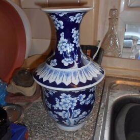 LARGE CHINESE BLUE AND WHITE PRUNUS FLOWER VASE (SIGNED)