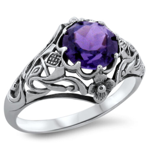 2 Ct. HYDRO AMETHYST ANTIQUE NOUVEAU STYLE .925 SILVER FILIGREE RING,       #356