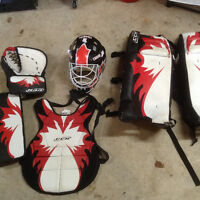 road hockey goalie gear, nets and stick for sale