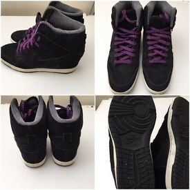 Nike trainers concealed wedge hi tops size 7