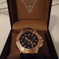 Mens guess gold tone watch