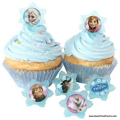 FROZEN Anna Elsa CupCake Cake Topper 12 18 24 Favor Decoration Birthday - Frozen Cupcake Topper