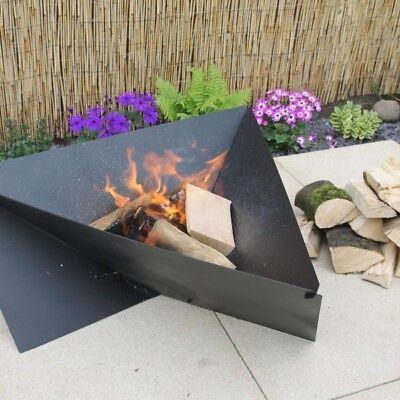 Made O' Metal Large Triangular Steel Garden Patio Camping Fire Pit Log Burner