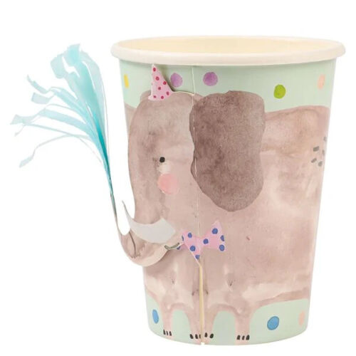 Box of 40 Elephant Themed Childrens Party Cups. By Paperchase
