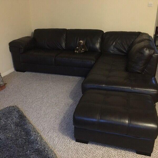 Italian Leather Sofa Gumtree: Sofology Rimini Leather Corner Sofa And Footrest