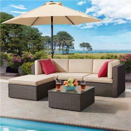 5 Pcs Patio Sofa Set, Outdoor Sectional Furniture Conversati