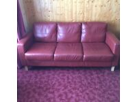Red leather sofa and 2 chairs