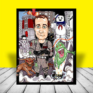 New-GHOSTBUSTERS-ART-of-Dr-Venkman-w-ghost-trap-proton-pack-artist-signed