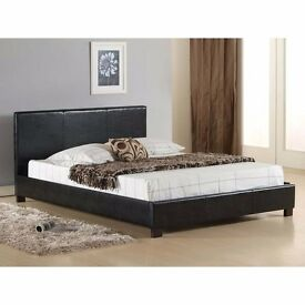 """BEST BUY"" -- JET BLACK AND CHOC BROWN -- DOUBLE LEATHER BED WITH DEEP QUILT MATTRESS -SINGLE & KING"