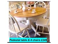 Vintage, shabby chic country kitchen pedestal table