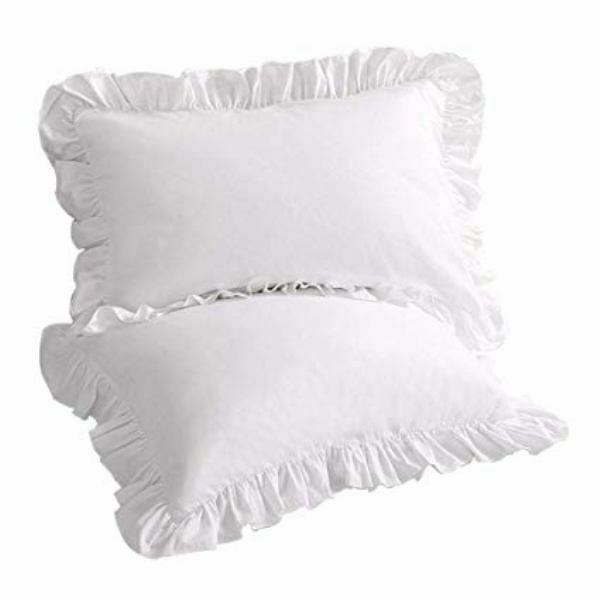 White Satin Ruffled Pillow Shams Pillow Cover King Size Bedd