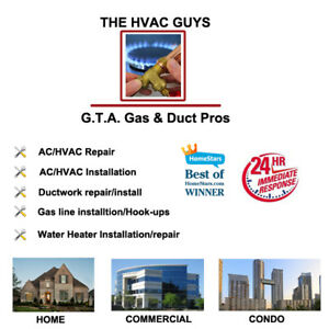 Duct work, Venting, Gas lines HVAC professionals fully Licenced