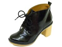 Brand New Job Lot 10 x Pairs of Ladies Patent Lace Up Ankle Boots with Heel, Very comfy