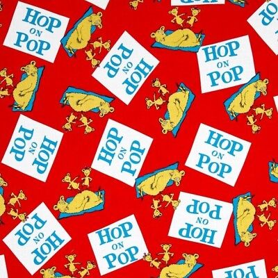 Hop on Pop Dr Seuss Storybook Character Book Title Red Cotton Fabric Fat Quarter