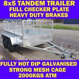 8x5 TRAILER 8 x 5 TANDEM HEAVY DUTY TRAILER CAGE GALVANISED 2 Clayton Monash Area Preview