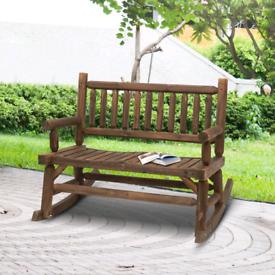 2-Seat Rocking Bench Wood Frame Rough-Cut Log Loveseat Slatted Dark St