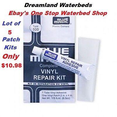 5 Individual Blue Magic WATERBED PATCH KITS-Vinyl Mattress R