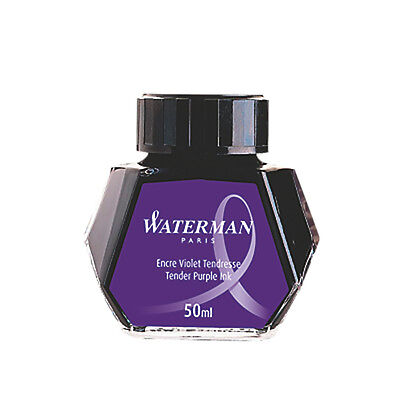 WATERMAN TENDER PURPLE  INK IN BOTTLE NEW IN BOX BEST INK   50ML