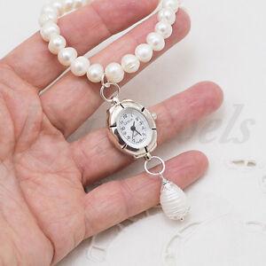 Bracciale-Orologio-Perle-Naturali-Argento-Satinato-Gioielli-Artigianali