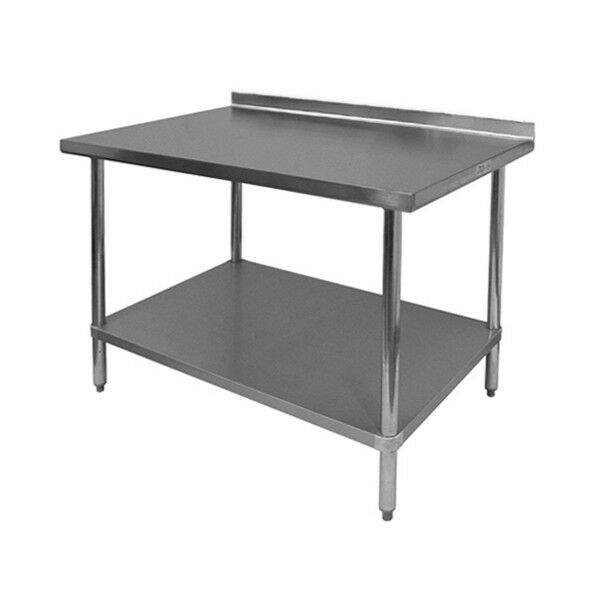 "Stainless Steel Work Table 24""x60"" w/ Backsplash - NSF"