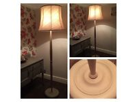 Vintage standard lamp with shade, refurbished, hand painted