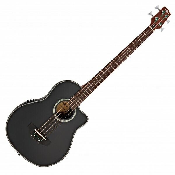Roundback Electro Acoustic Bass Guitar by Gear4music Black