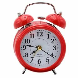 Vintage OLD STYLE Alarm Clock MINI Twin Metal Bell Mute Silent Analog RED