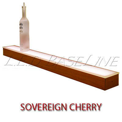 16 1 Tier Led Lighted Liquor Display Shelf - Cherry Finish