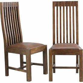 Dining Chair Furniture Pair Dakota Mango Leather Upholstered Solid High Back