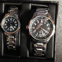 His and hers stainless steel watches