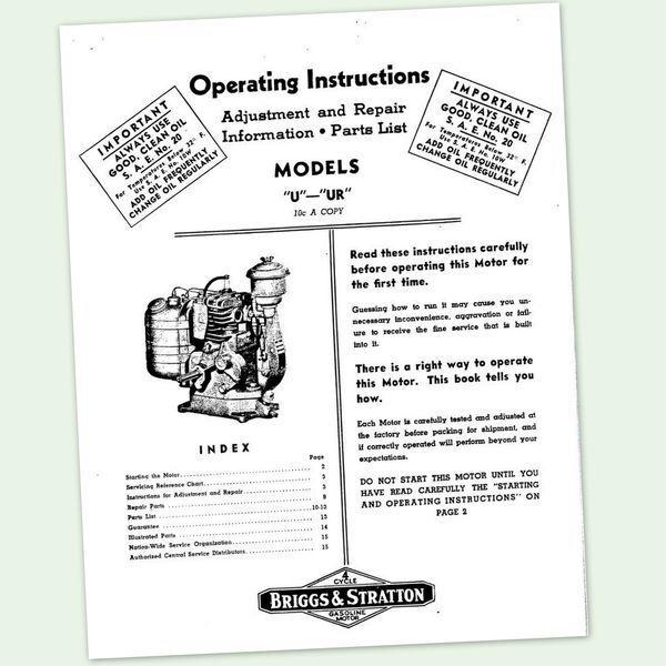 BRIGGS AND STRATTON U UR ENGINE OWNERS OPERATORS REPAIR PART MANUAL SERVICE BS