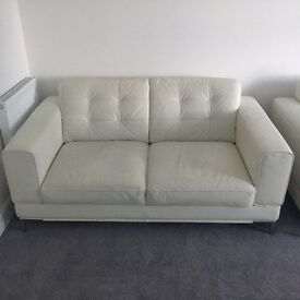 WHITE LEATHER SOFA & CHAIR FOR SALE