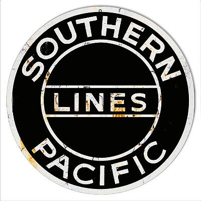 Distressed Southern Pacific Lines Reproduction Railroad Metal Sign 14 Round
